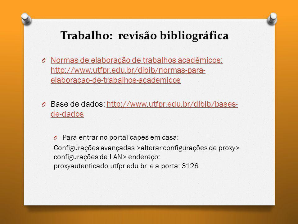 Trabalho: revisão bibliográfica