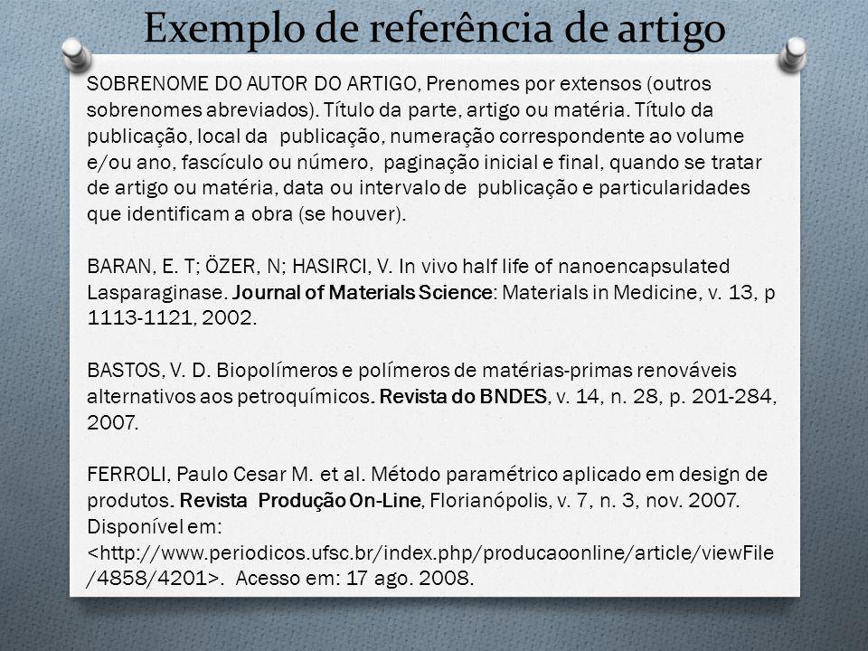 Exemplo de referência de artigo