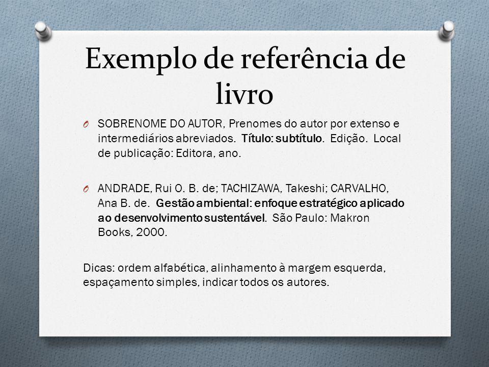 Exemplo de referência de livro