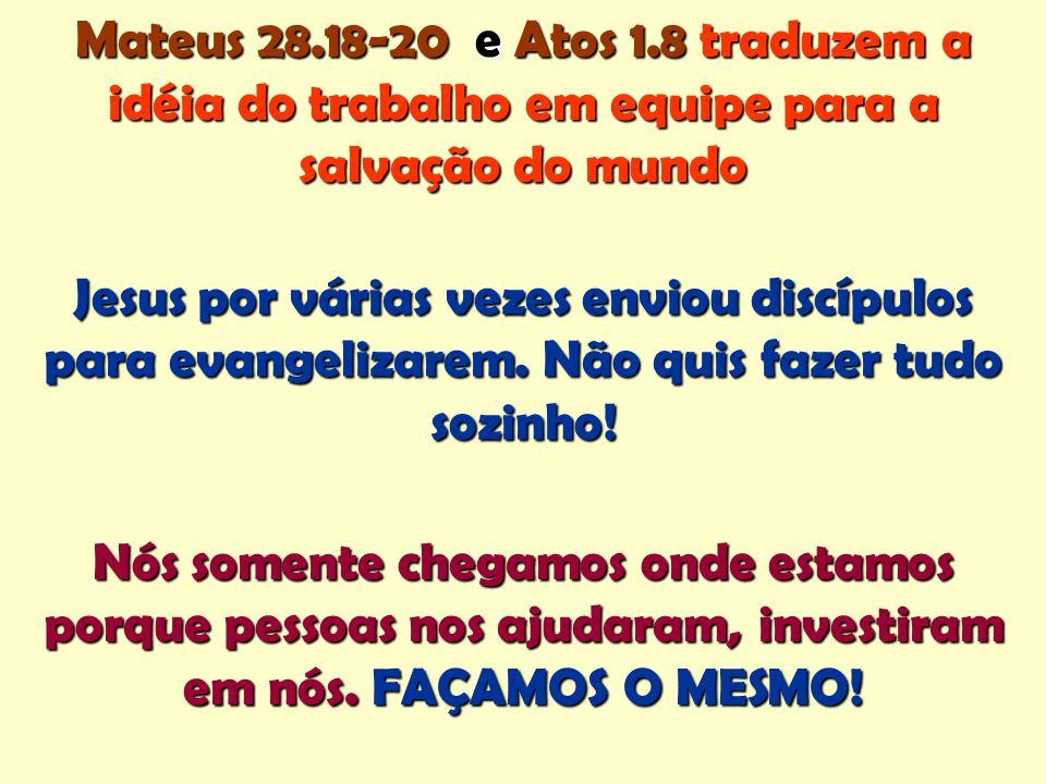 Mateus 28.18-20 e Atos 1.8 traduzem a idéia do trabalho em equipe para a salvação do mundo