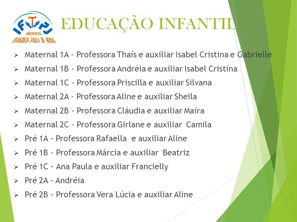 EDUCAÇÃO INFANTIL Maternal 1A - Professora Thaís e auxiliar Isabel Cristina e Gabrielle. Maternal 1B - Professora Andréia e auxiliar Isabel Cristina.