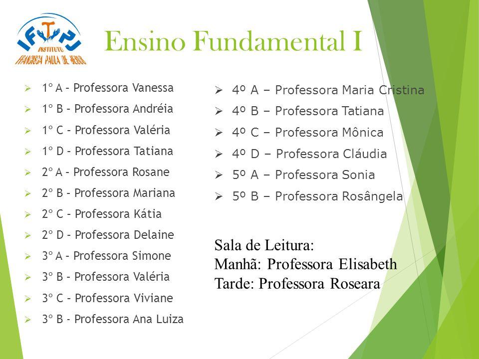 Ensino Fundamental I Sala de Leitura: Manhã: Professora Elisabeth