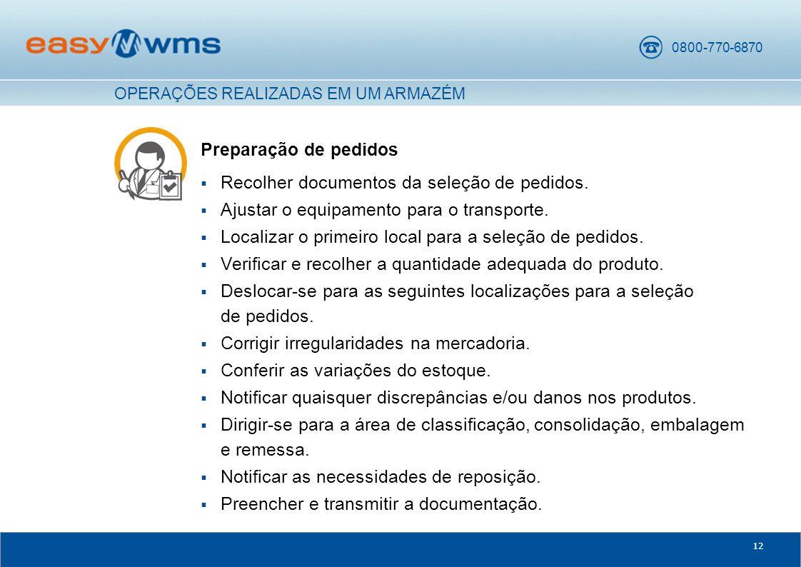 Recolher documentos da seleção de pedidos.