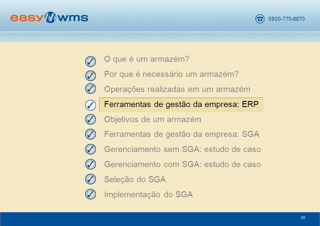 O que é um armazém Por que é necessário um armazém Operações realizadas em um armazém. Ferramentas de gestão da empresa: ERP.