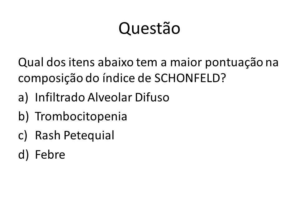 Questão Qual dos itens abaixo tem a maior pontuação na composição do índice de SCHONFELD Infiltrado Alveolar Difuso.