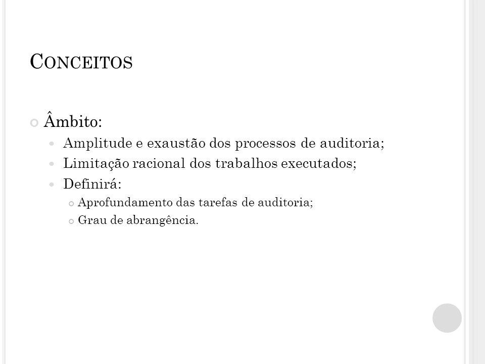 Conceitos Âmbito: Amplitude e exaustão dos processos de auditoria;