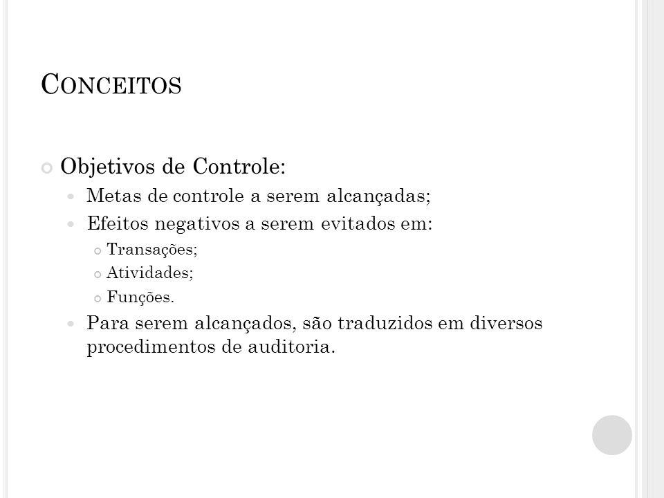 Conceitos Objetivos de Controle: Metas de controle a serem alcançadas;