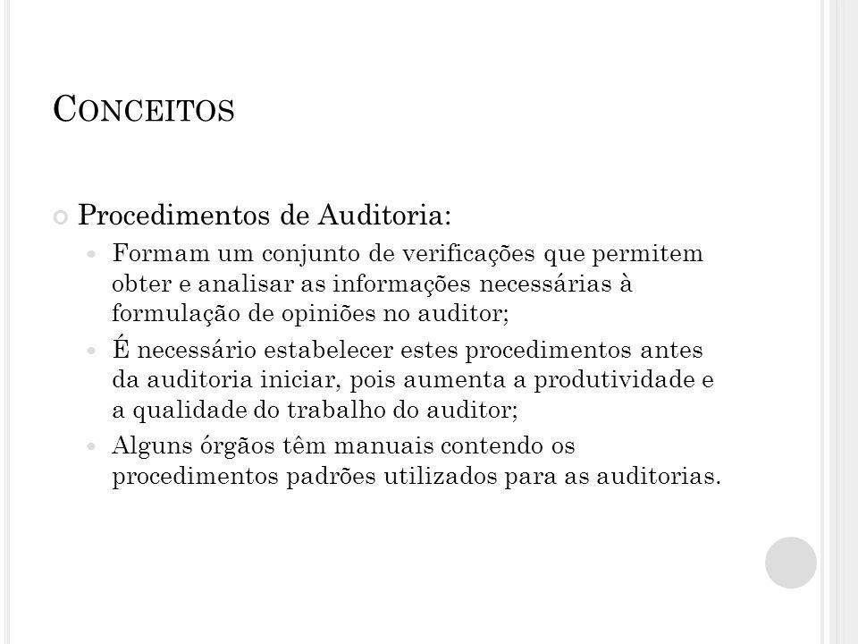 Conceitos Procedimentos de Auditoria: