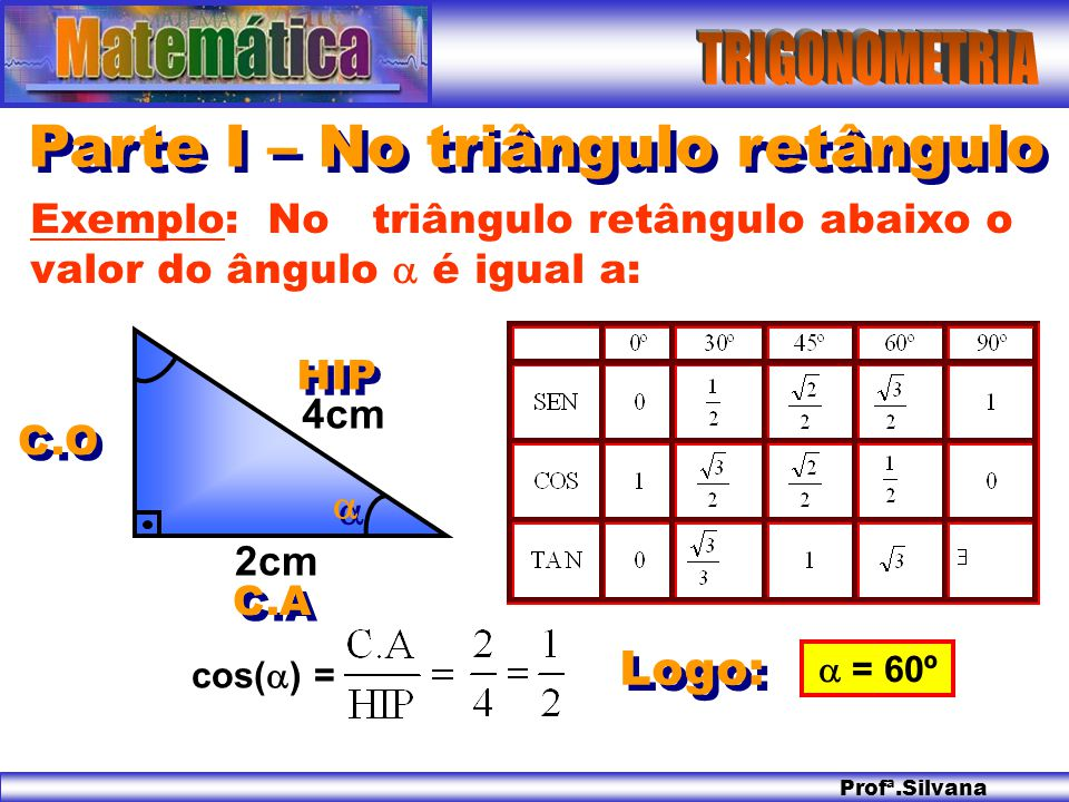Parte I – No triângulo retângulo