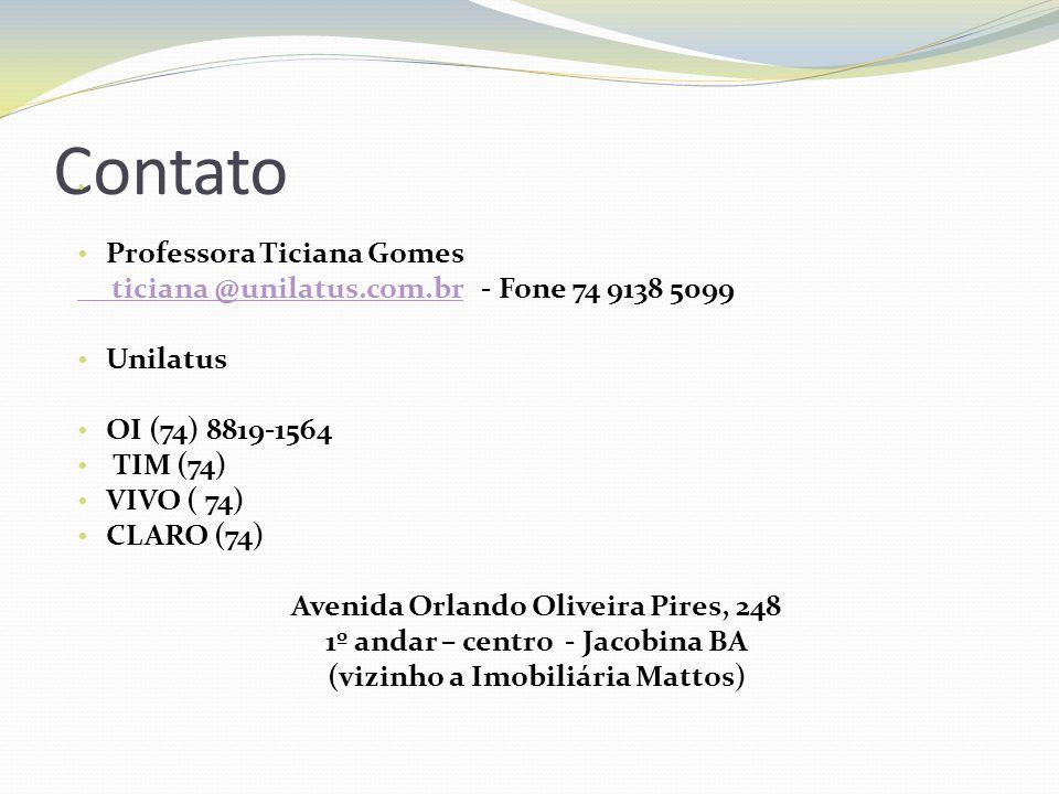 Contato Professora Ticiana Gomes