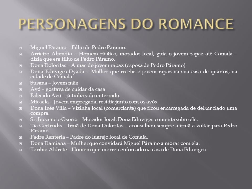 PERSONAGENS DO ROMANCE