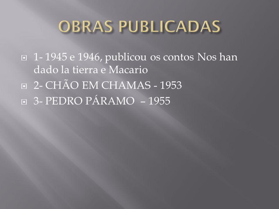 OBRAS PUBLICADAS 1- 1945 e 1946, publicou os contos Nos han dado la tierra e Macario. 2- CHÃO EM CHAMAS - 1953.