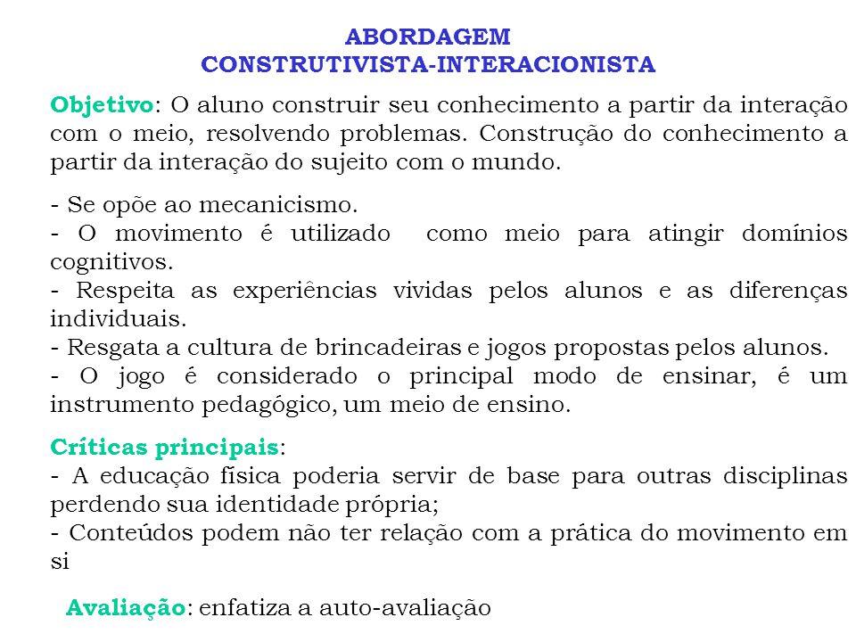 ABORDAGEM CONSTRUTIVISTA-INTERACIONISTA