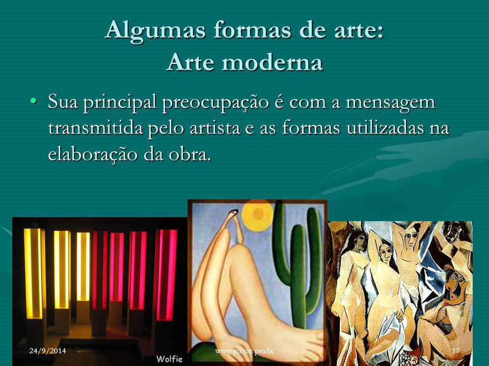Algumas formas de arte: Arte moderna