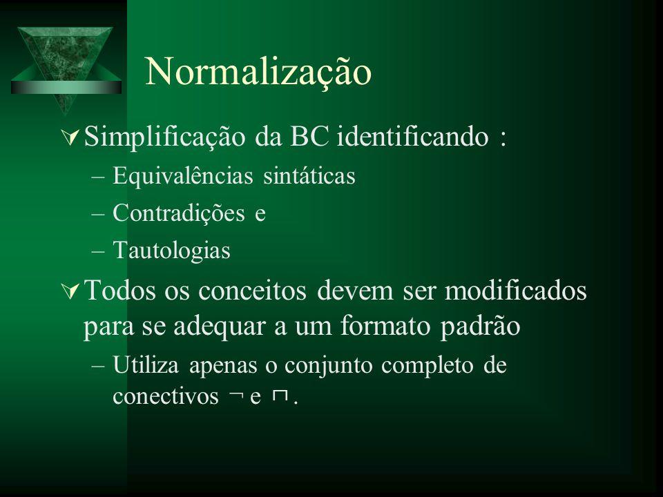 Normalização Simplificação da BC identificando :