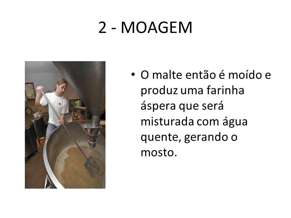 2 - MOAGEM O malte então é moído e produz uma farinha áspera que será misturada com água quente, gerando o mosto.
