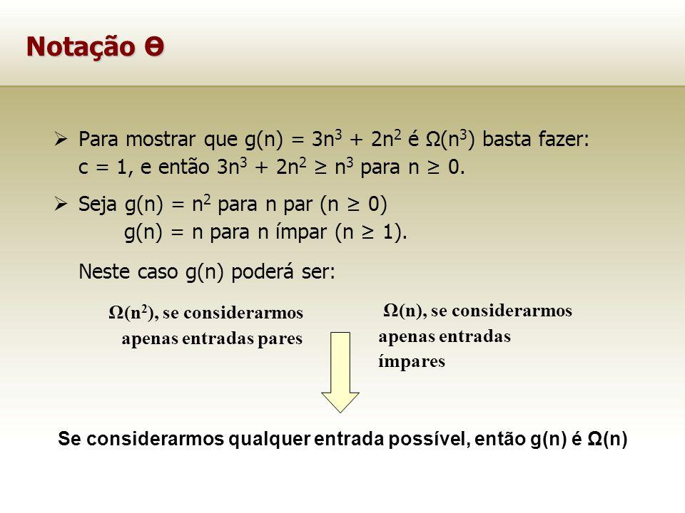 Se considerarmos qualquer entrada possível, então g(n) é Ω(n)
