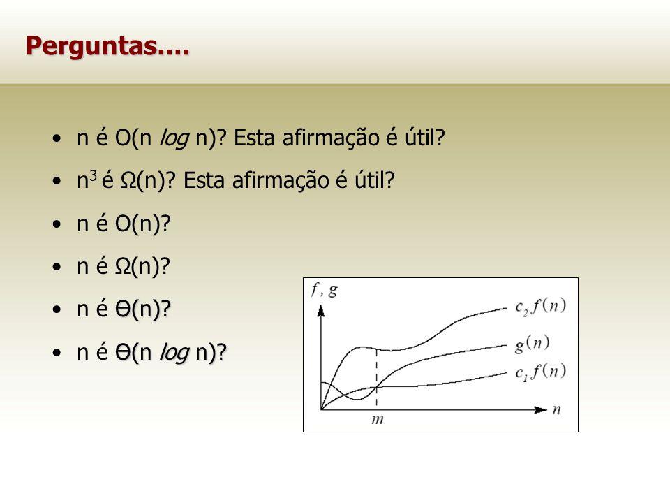 Perguntas.... n é O(n log n) Esta afirmação é útil