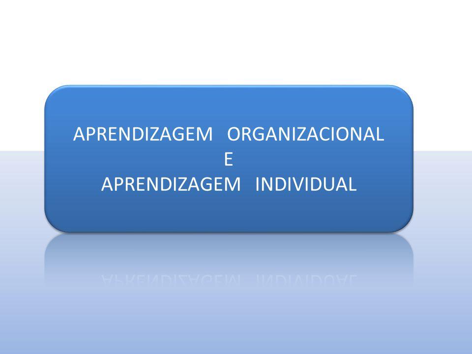 APRENDIZAGEM ORGANIZACIONAL E APRENDIZAGEM INDIVIDUAL