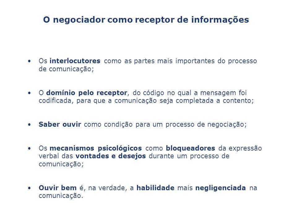 O negociador como receptor de informações