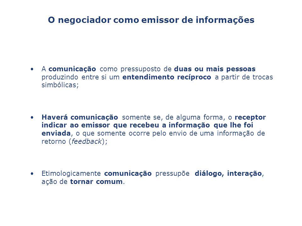 O negociador como emissor de informações
