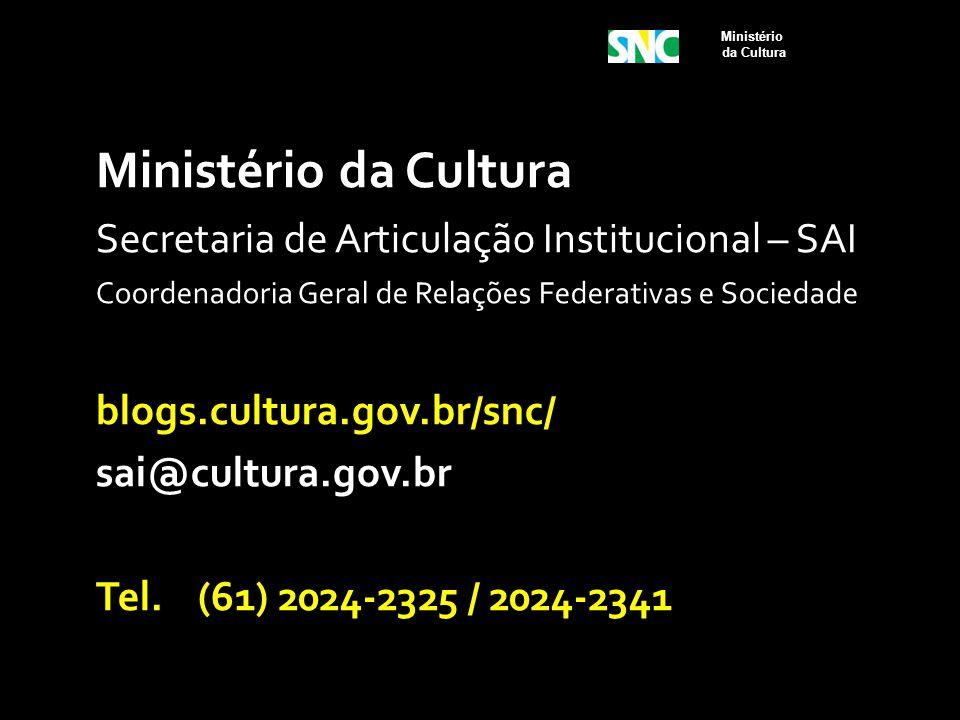 Ministério da Cultura Secretaria de Articulação Institucional – SAI