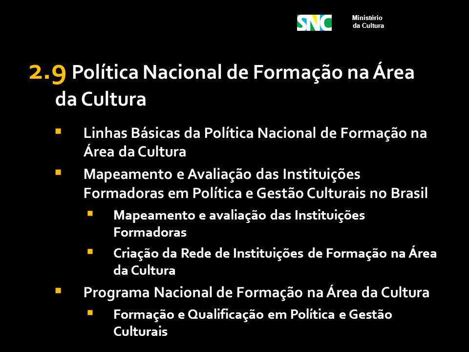 2.9 Política Nacional de Formação na Área da Cultura