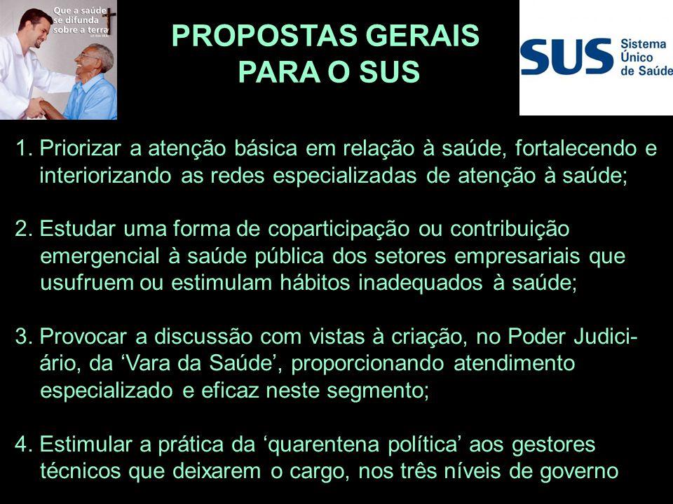 PROPOSTAS GERAIS PARA O SUS