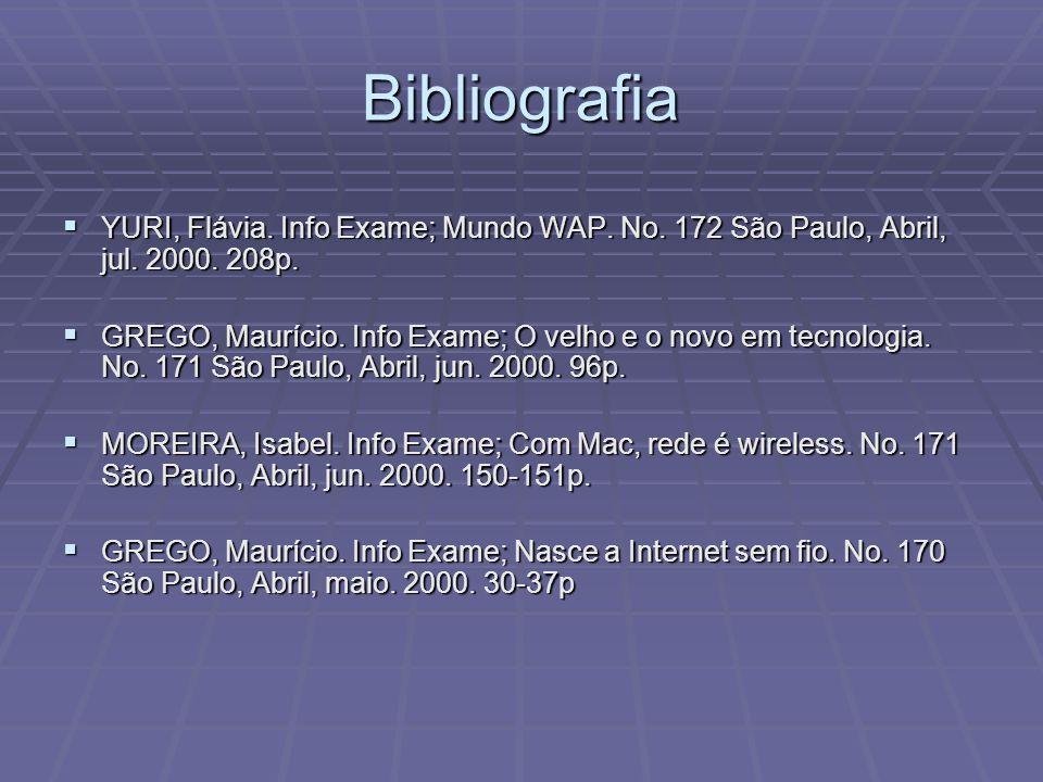 Bibliografia YURI, Flávia. Info Exame; Mundo WAP. No. 172 São Paulo, Abril, jul. 2000. 208p.