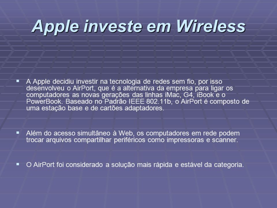 Apple investe em Wireless