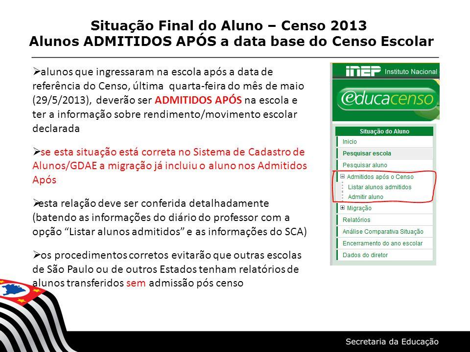 Situação Final do Aluno – Censo 2013 Alunos ADMITIDOS APÓS a data base do Censo Escolar