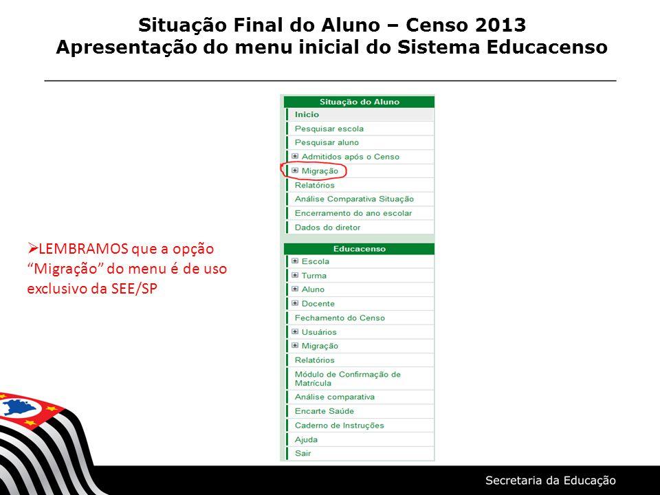 Situação Final do Aluno – Censo 2013 Apresentação do menu inicial do Sistema Educacenso