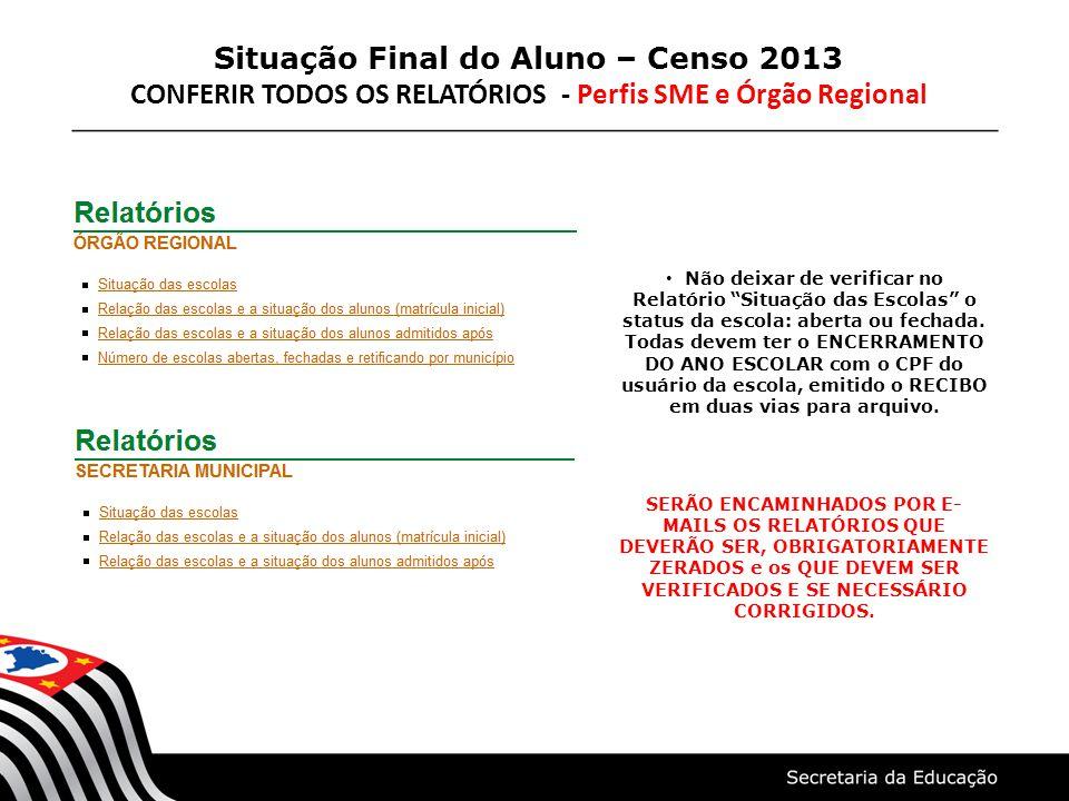 Situação Final do Aluno – Censo 2013 CONFERIR TODOS OS RELATÓRIOS - Perfis SME e Órgão Regional