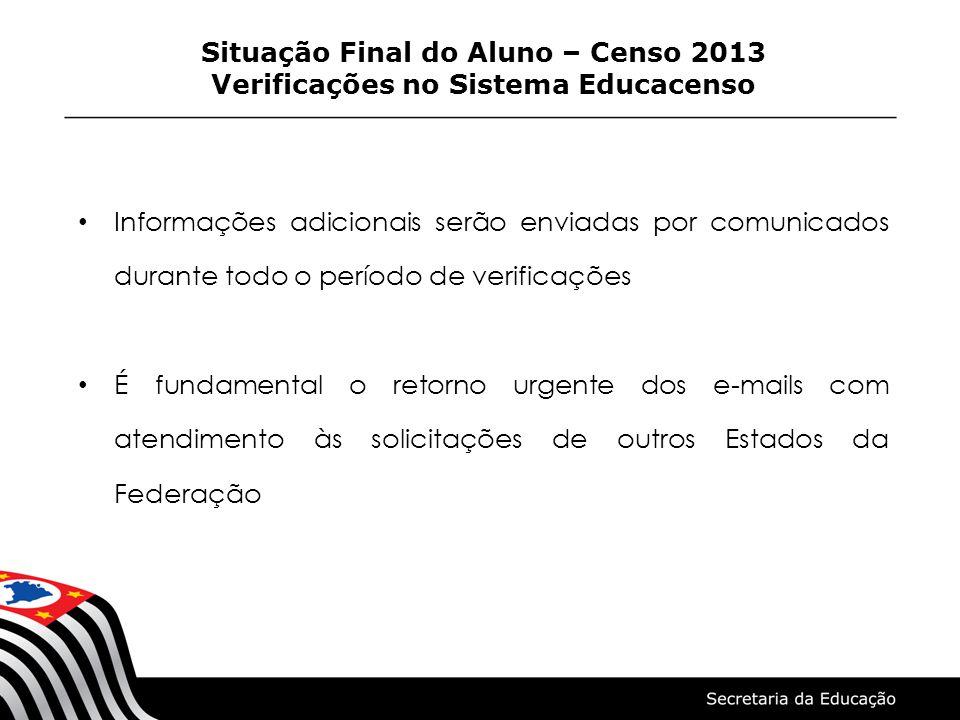 Situação Final do Aluno – Censo 2013 Verificações no Sistema Educacenso