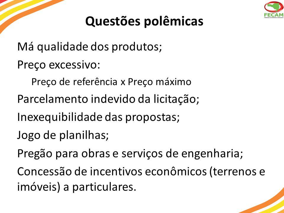 Questões polêmicas Má qualidade dos produtos; Preço excessivo: