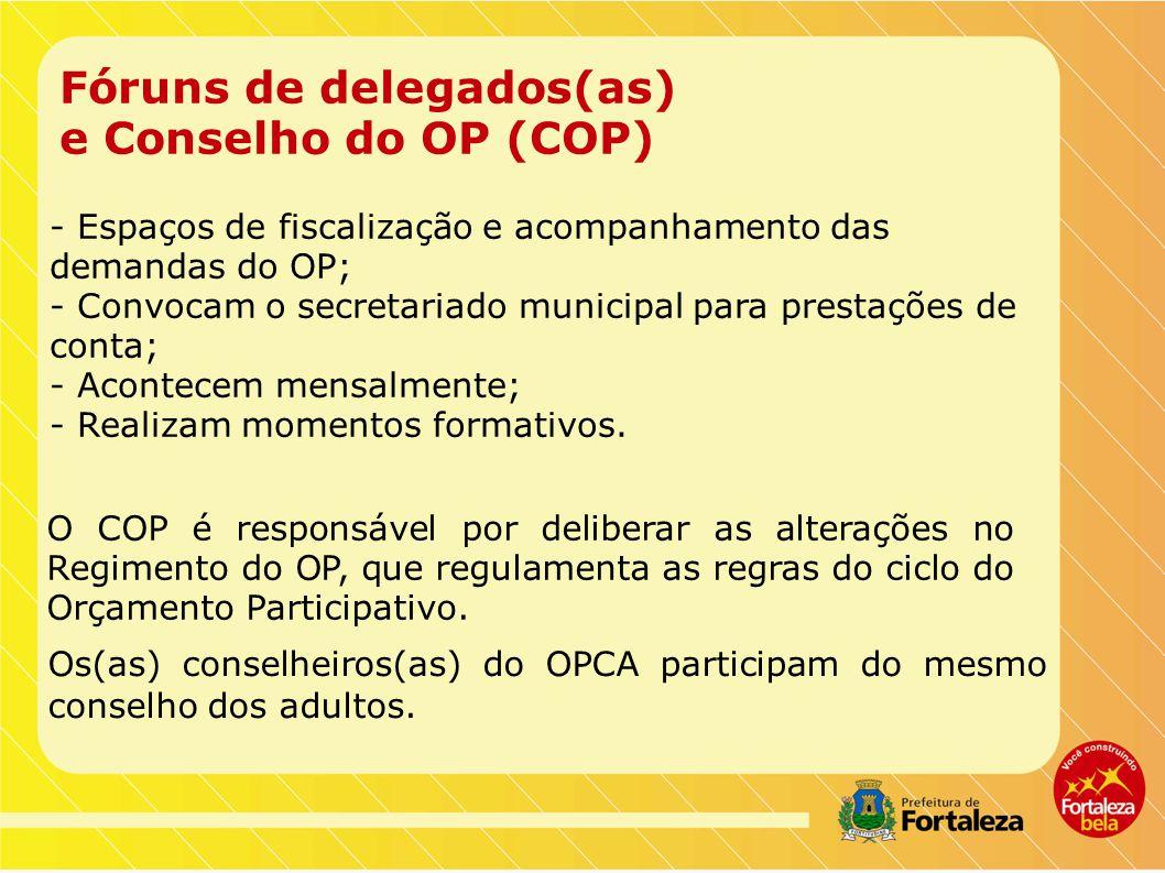 Fóruns de delegados(as) e Conselho do OP (COP)