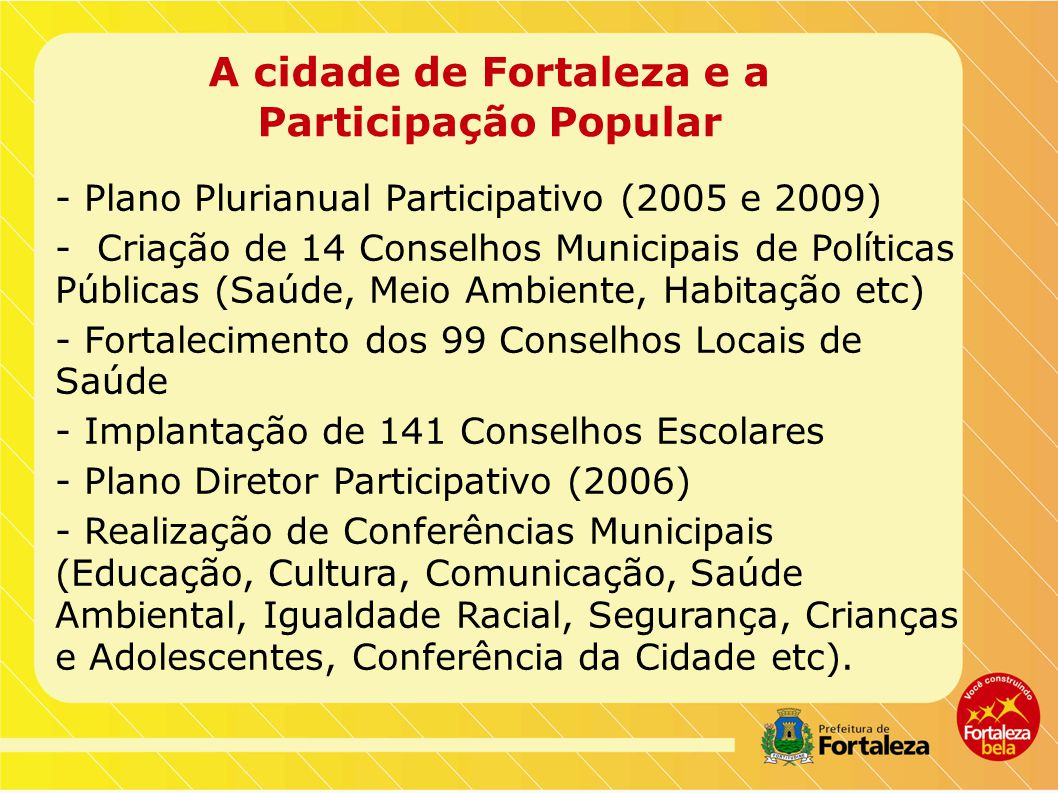A cidade de Fortaleza e a Participação Popular