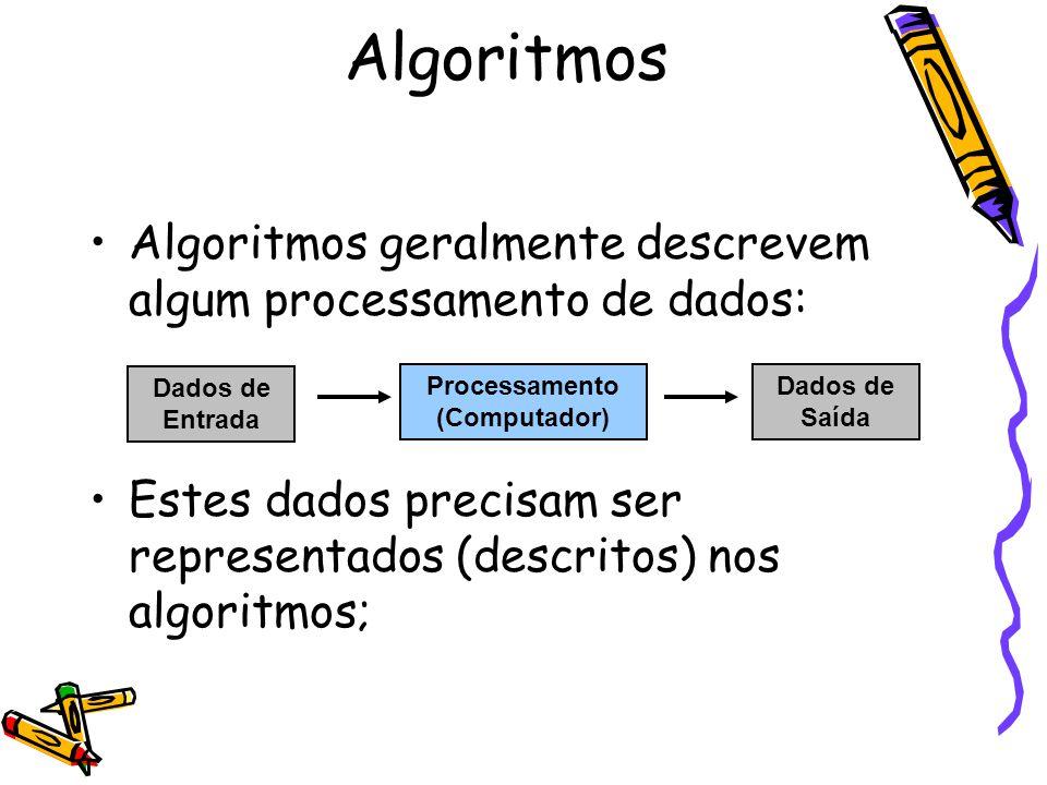 Algoritmos Algoritmos geralmente descrevem algum processamento de dados: Estes dados precisam ser representados (descritos) nos algoritmos;