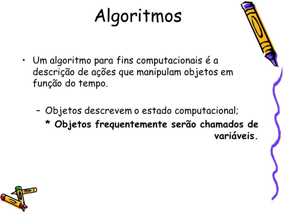 Algoritmos Um algoritmo para fins computacionais é a descrição de ações que manipulam objetos em função do tempo.