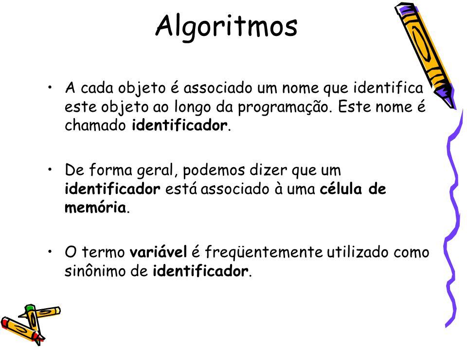 Algoritmos A cada objeto é associado um nome que identifica este objeto ao longo da programação. Este nome é chamado identificador.