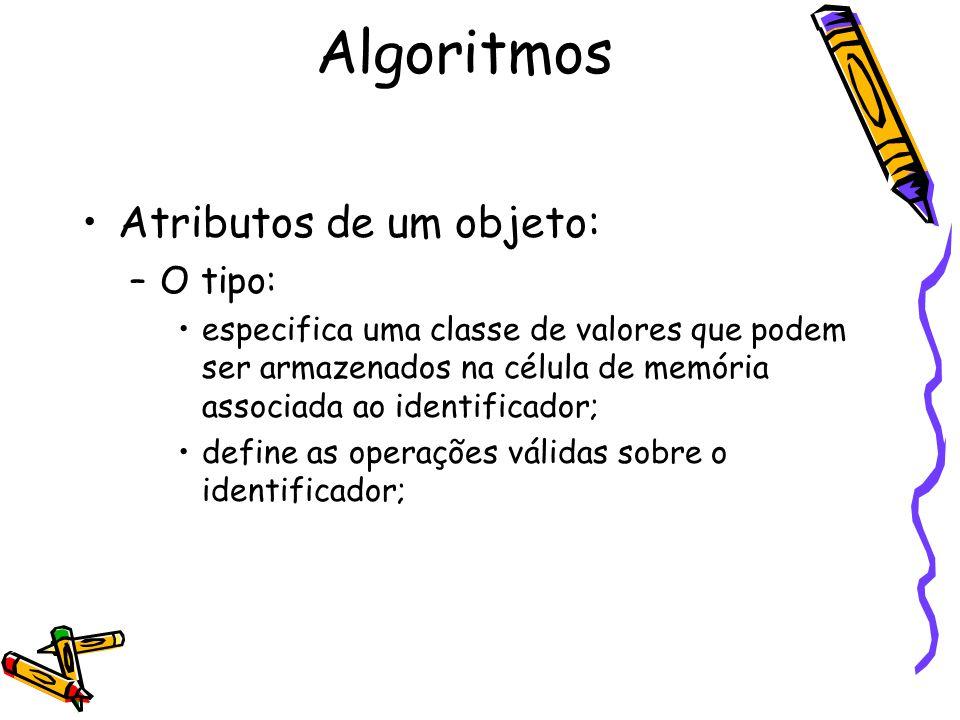 Algoritmos Atributos de um objeto: O tipo: