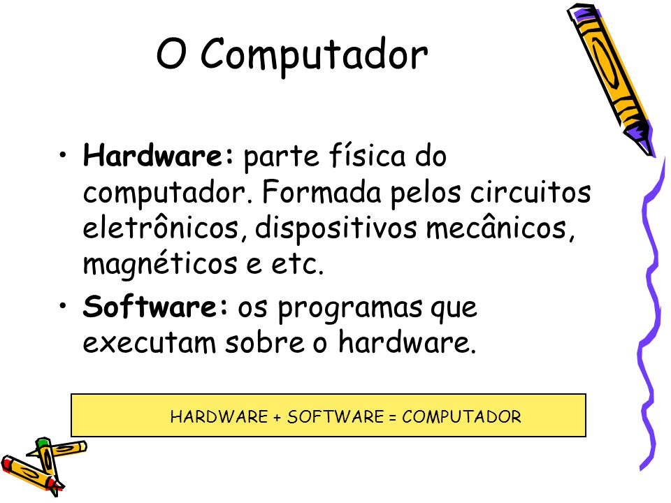 HARDWARE + SOFTWARE = COMPUTADOR