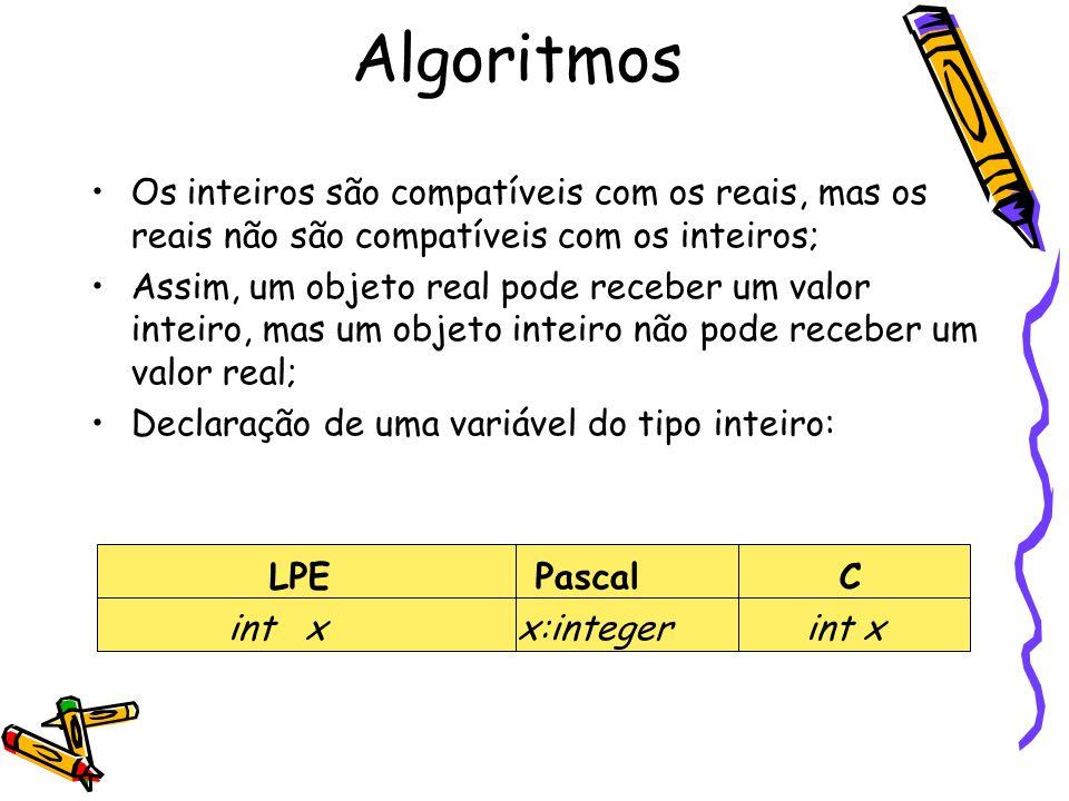 Algoritmos Os inteiros são compatíveis com os reais, mas os reais não são compatíveis com os inteiros;