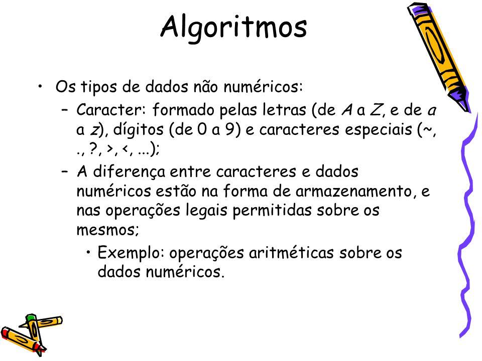 Algoritmos Os tipos de dados não numéricos: