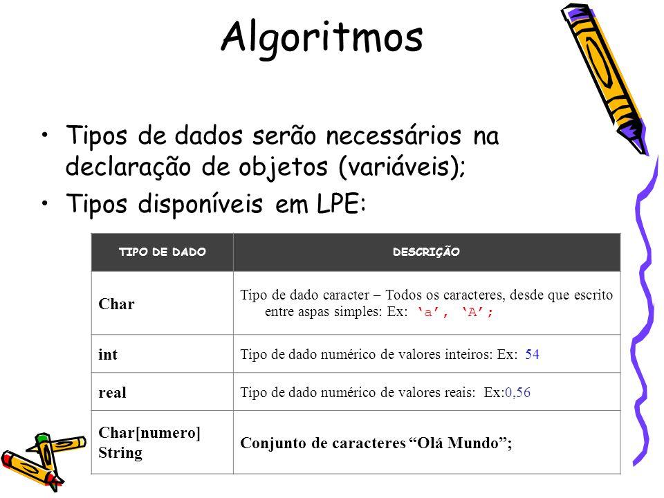 Algoritmos Tipos de dados serão necessários na declaração de objetos (variáveis); Tipos disponíveis em LPE: