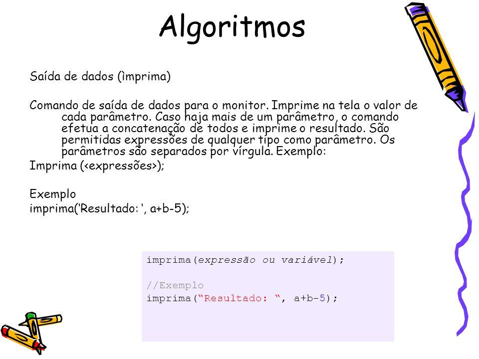 Algoritmos Saída de dados (ìmprima)