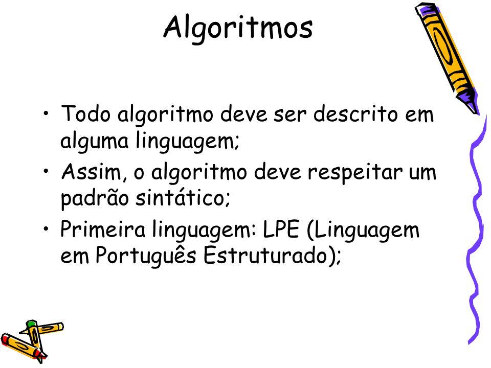 Algoritmos Todo algoritmo deve ser descrito em alguma linguagem;