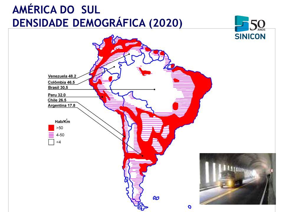 AMÉRICA DO SUL DENSIDADE DEMOGRÁFICA (2020)