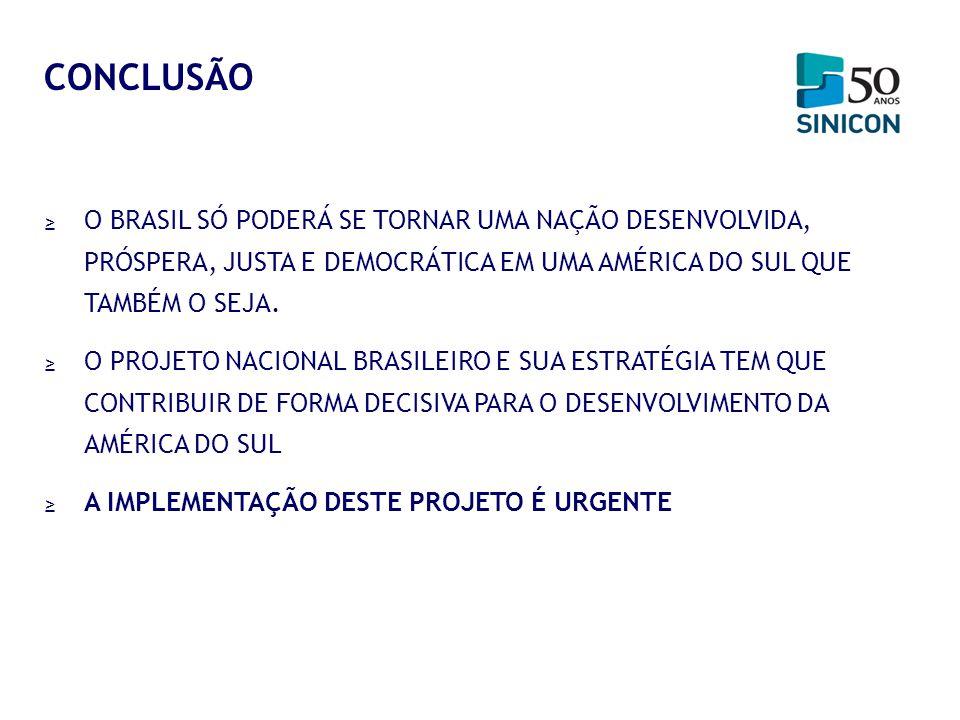 CONCLUSÃO O BRASIL SÓ PODERÁ SE TORNAR UMA NAÇÃO DESENVOLVIDA, PRÓSPERA, JUSTA E DEMOCRÁTICA EM UMA AMÉRICA DO SUL QUE TAMBÉM O SEJA.