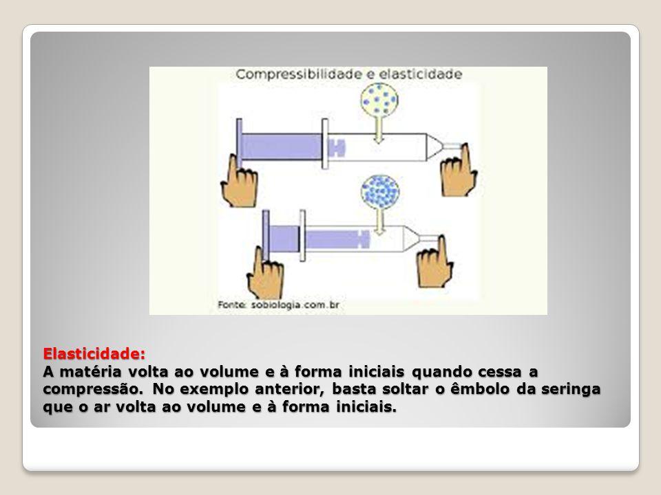 Elasticidade: A matéria volta ao volume e à forma iniciais quando cessa a compressão.